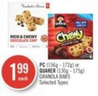 PC (156g - 172g) or Quaker (130g - 175g) Granola Bars