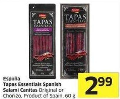 Espuña Tapas Essentials Spanish Salami Canitas Original or Chorizo - Product of Spain - 60 g