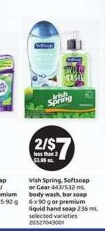 Irish Spring - Softsoap Or Gear - 443/532 mL Body Wash - Bar Soap - 6 X 90 g Or Premium Liquid Hand Soap - 236 mL