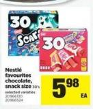 Nestlé Favourites Chocolate - Snack Size - 30's
