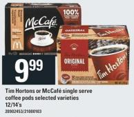 Tim Hortons Or Mccafé Single Serve Coffee PODS - 12/14's