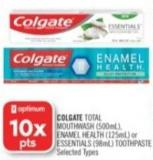 Colgate Total Mouthwash (500ml) - Enamel Health (125ml) or Essentials (98ml) Toothpaste
