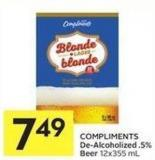 Compliments De-alcoholized .5% Beer 12x355 mL