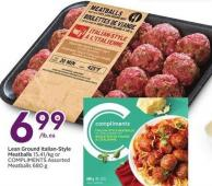 Lean Ground Italian-style Meatballs 15.41/kg or Compliments Meatballs 680 g