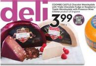 Coombe Castle Chocolot Wensleydale With Triple Chocolate Fudge or Raspberry Tipple Wensleydale With Prosecco Wine Cheese