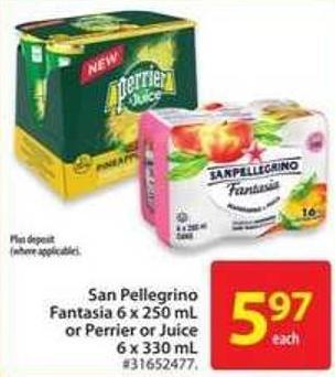 San Pellegrino Fantasia 6x250 ml or Perrier or Juice