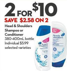Head & Shoulders Shampoo or  Conditioner 380-400ml Bottle