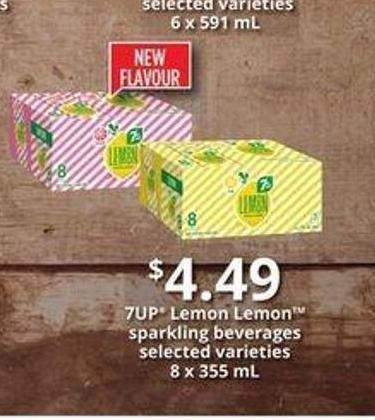 7up Lemon Lemon Sparkling Beverages - 8 X 355 mL
