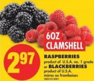 Clamshell Raspberries or Blackberries - 6oz