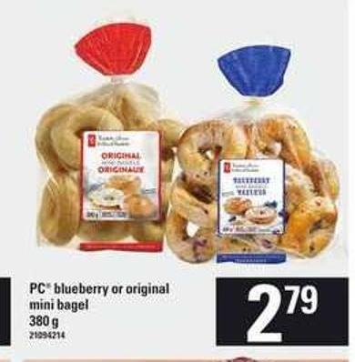 PC Blueberry Or Original Mini Bagel - 380 G$2.79