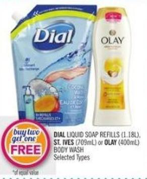 Dial Liquid Soap Refills (1.18l) - St. Ives (709ml) or Olay (400ml) Body Wash