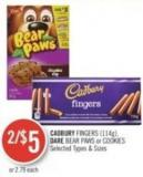 Cadbury Fingers (114g) - Dare Bear Paws or Cookies
