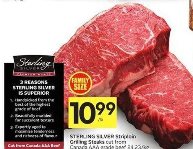 Sterling Silver Striploin Grilling Steaks Cut From Canada Aaa Grade Beef 24.23/kg