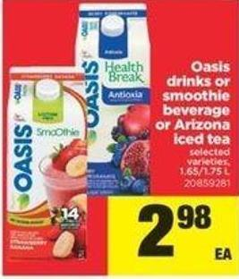 Oasis Drinks Or Smoothie Beverage Or Arizona Iced Tea - 1.65/1.75 L