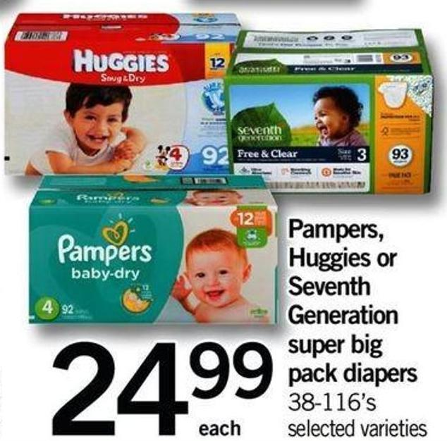 Pampers - Huggies Or Seventh Generation Super Big Pack Diapers - 38-116's