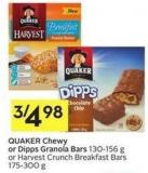 Quaker Chewy or Dipps Granola Bars 130-156 g or Harvest Crunch Breakfast Bars 175-300 g