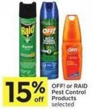 Off! or Raid Pest Control Products Selected