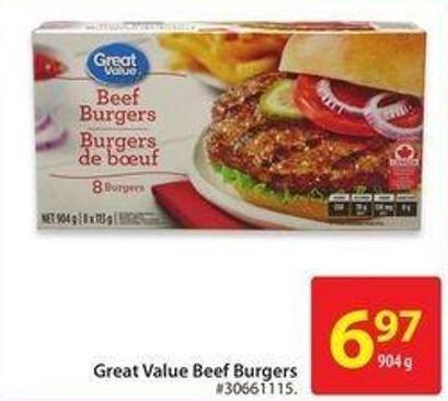Great Value Beef Burgers
