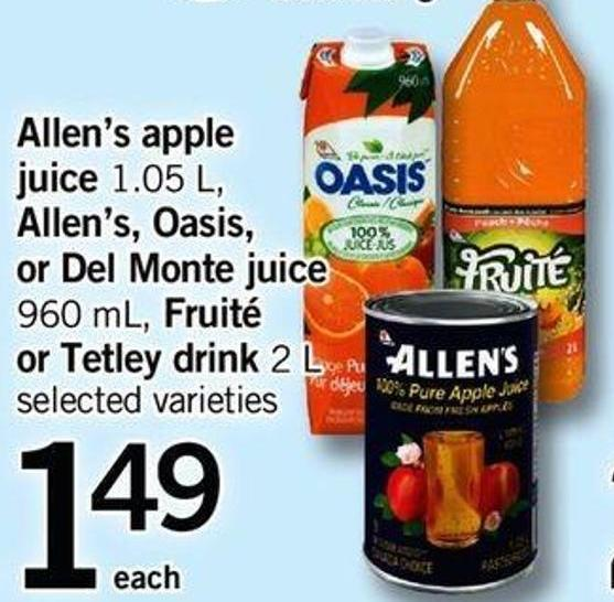 Allen's Apple Juice 1.05 L - Allen's - Oasis - Or Del Monte Juice 960 Ml - Fruité Or Tetley Drink 2 L