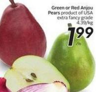 Green or Red Anjou Pears