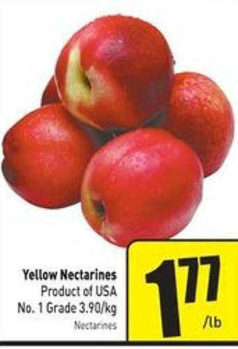 Yellow Nectarines Product of USA No. 1 Grade 3.90/kg