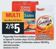 Pepperidge Farm Goldfish Crackers 156-227 G/6x28 g Or Special K Cracker Chips 113/127 g - Keebler Crackers 260-391 g Or Leclerc Celebration Cookies 100/240 g