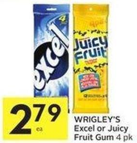 Wrigley's Excel or Juicy Fruit Gum 4 Pk