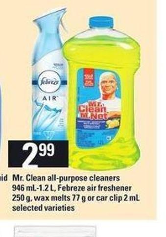 Mr.clean All Purpose Cleaners - 946 Ml-1.2 L - Febreze Air Freshener - 250 G - Wax Melts 77 G Or Car Clip - 2 Ml