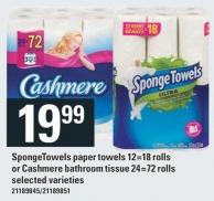Spongetowels Paper Towels 12=18 Rolls Or Cashmere Bathroom Tissue 24=72 Rolls