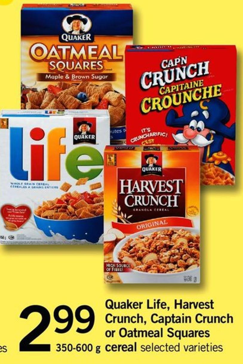 Quaker Life - Harvest Crunch - Captain Crunch Or Oatmeal Squares - 350-600 G