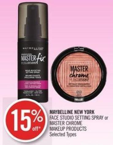 Maybelline New York  Face Studio Setting Spray or Master Chrome Makeup Products