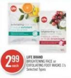 Life Brand Brightening Face or Exfoliating Foot Masks 1's