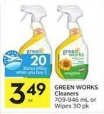 Green Works Cleaners 709-946 mL or Wipes 30 Pk - 20 Air Miles Bonus Miles