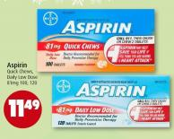 Aspirin Quick Chews - Daily Low Dose 81mg 100 - 120