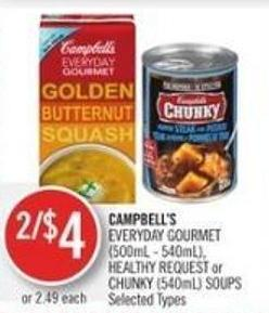 Campbell's Campbell's Everyday Gourmet (500ml - 540ml) - Healthy Request or Chunky (540ml) Soups