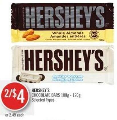 Hershey's  Chocolate Bars 100g - 120g