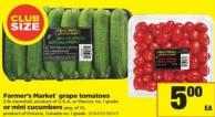 Farmer's Market Grape Tomatoes - 2 Lb Clamshell Or Mini Cucumbers - Pkg Of 15