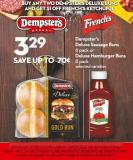 Dempster's  Deluxe Sausage Buns  6 Pack or  Deluxe Hamburger Buns  8 Pack