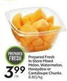 Prepared Fresh In-store Mixed Melon - Watermelon - Honeydew or Cantaloupe Chunks