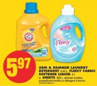 Arm & Hammer Laundry Detergent - 4.43 L - Fleecy Fabric Softener Liquid - 4 L or Sheets - 200's