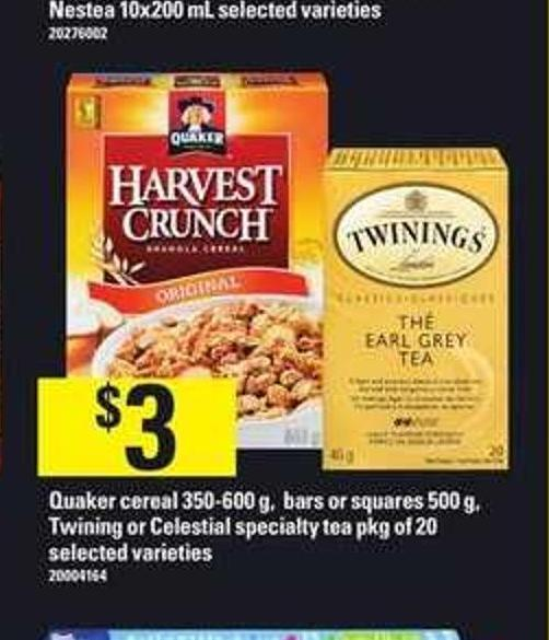 Quaker Cereal - 350-600 G - Bars Or Squares - 500 G - Twining Or Celestial Specialty Tea - Pkg Of 20
