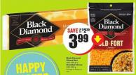 Black Diamond Cheese Bars 400-450 g or Shredded Cheese 320-340 g
