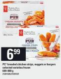 PC Breaded Chicken Strips - Nuggets Or Burgers - 600-800 g