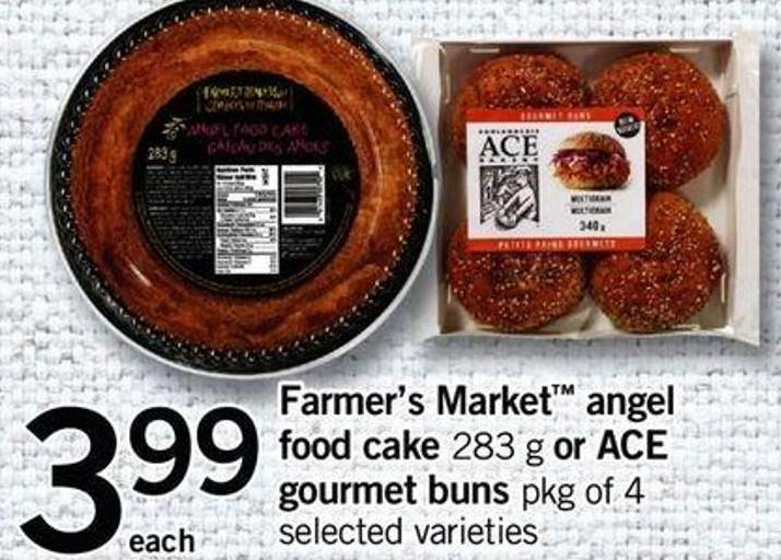 Farmer's Market Angel Food Cake 283 G Or Ace Gourmet Buns Pkg Of 4