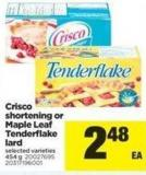 Crisco Shortening Or Maple Leaf Tenderflake Lard - 454 G