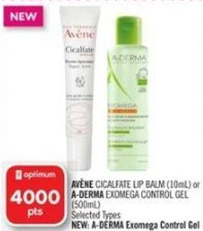 Avène Cicalfate Lip Balm (10ml) or A-derma Exomega Control Gel (500ml)