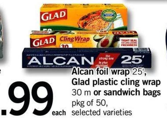 Alcan Foil Wrap 25' - Glad Plastic Cling Wrap 30 M Or Sandwich Bags Pkg Of 50
