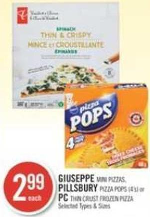 Giuseppe Mini Pizzas - Pillsbury Pizza Pops (4's) or PC Thin Crust Frozen Pizza
