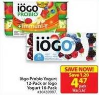 Iögo Probio Yogurt 12-pack or Iögo Yogurt 16-pack