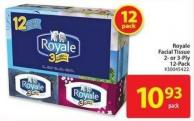 Royale Facial Tissue 2- or 3-ply 12-pack